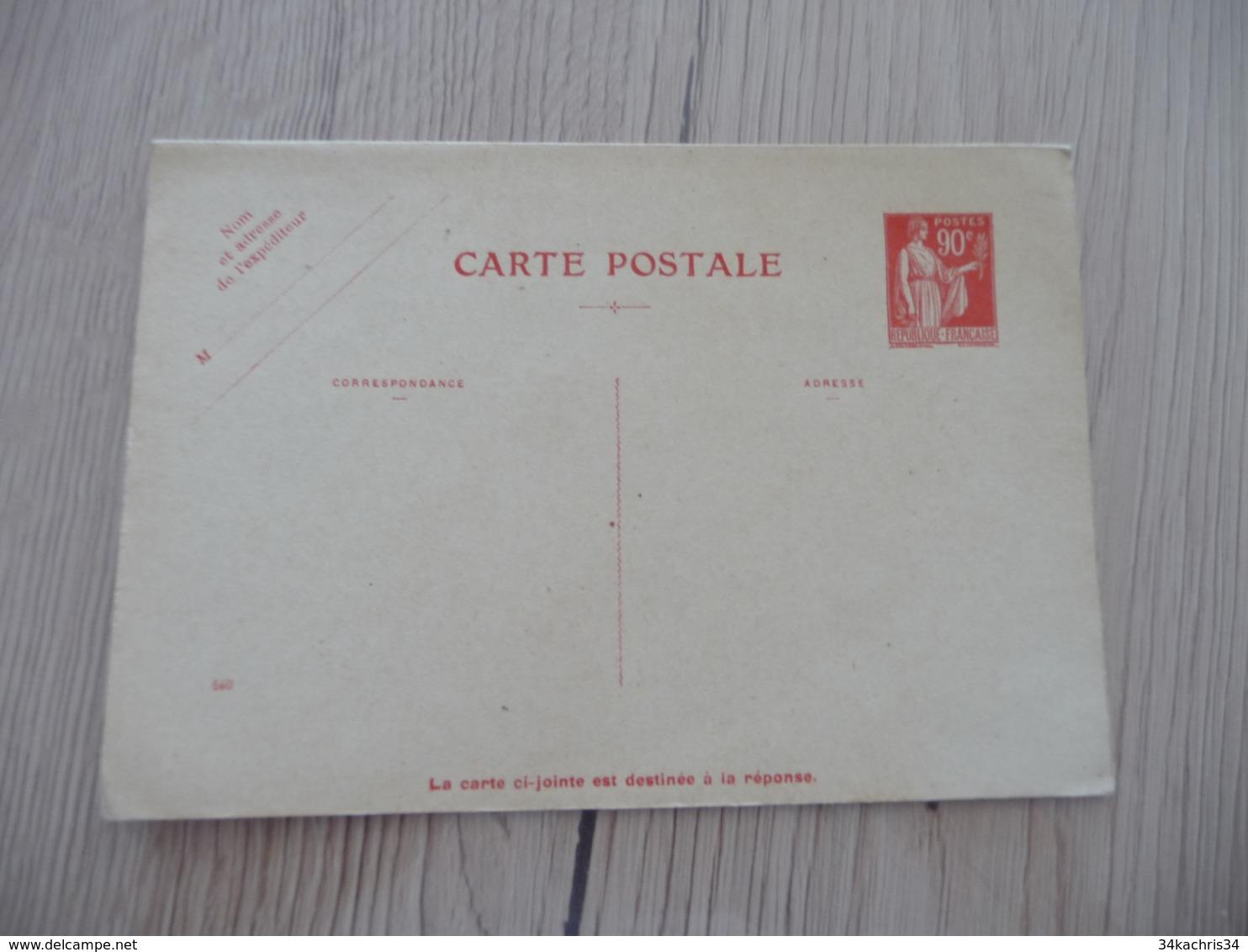 Entier France Vierge Type Paix 90 C + 90 C Rouge Carte Postale En Réponse Payée YT 285 CPRP1 Date 540 Côte - Standard- Und TSC-AK (vor 1995)