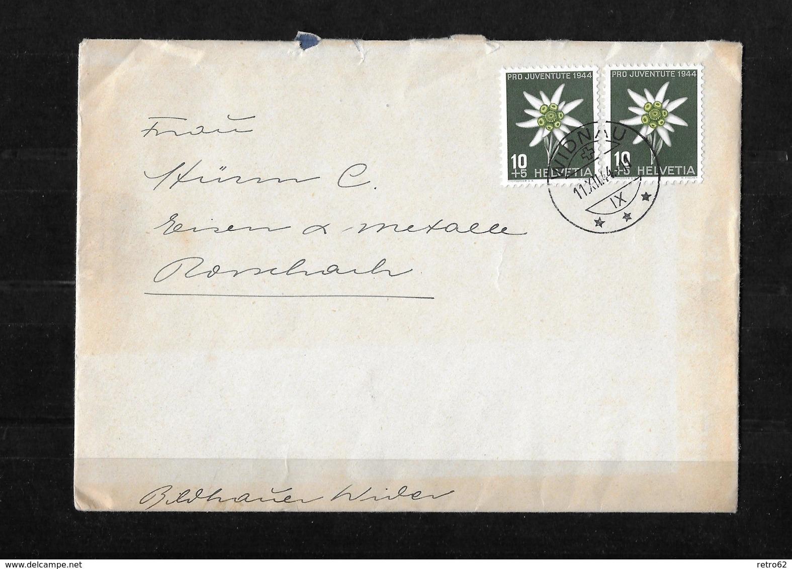 HEIMAT BERN → Umschlag Mit Brief & Karte Bildhauer Wider Albert Widnau 1944   ►RAR◄ - Pro Juventute