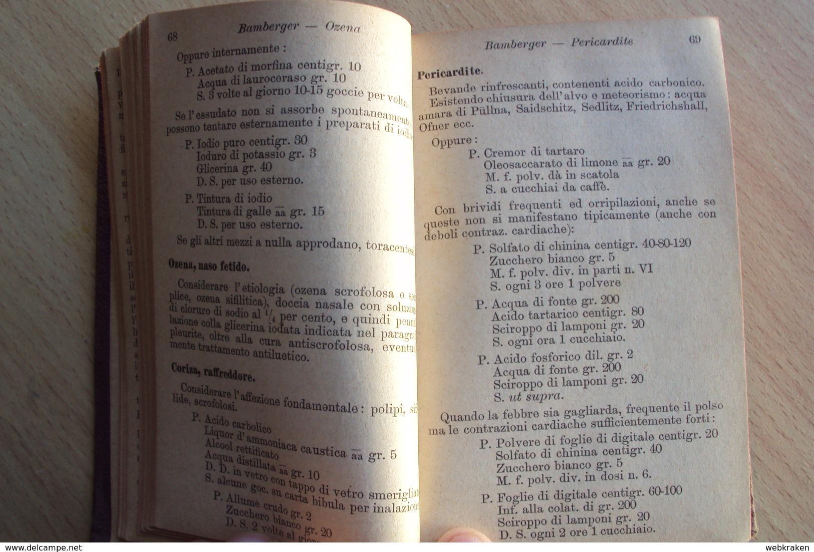 ITALIA RICETTARIO TASCABILE CENNI E FORMULE TERAPEUTICHE TORINO 1888 ERMANNO LOESCHER ROMA FIRENZE MEDICINA - Altri