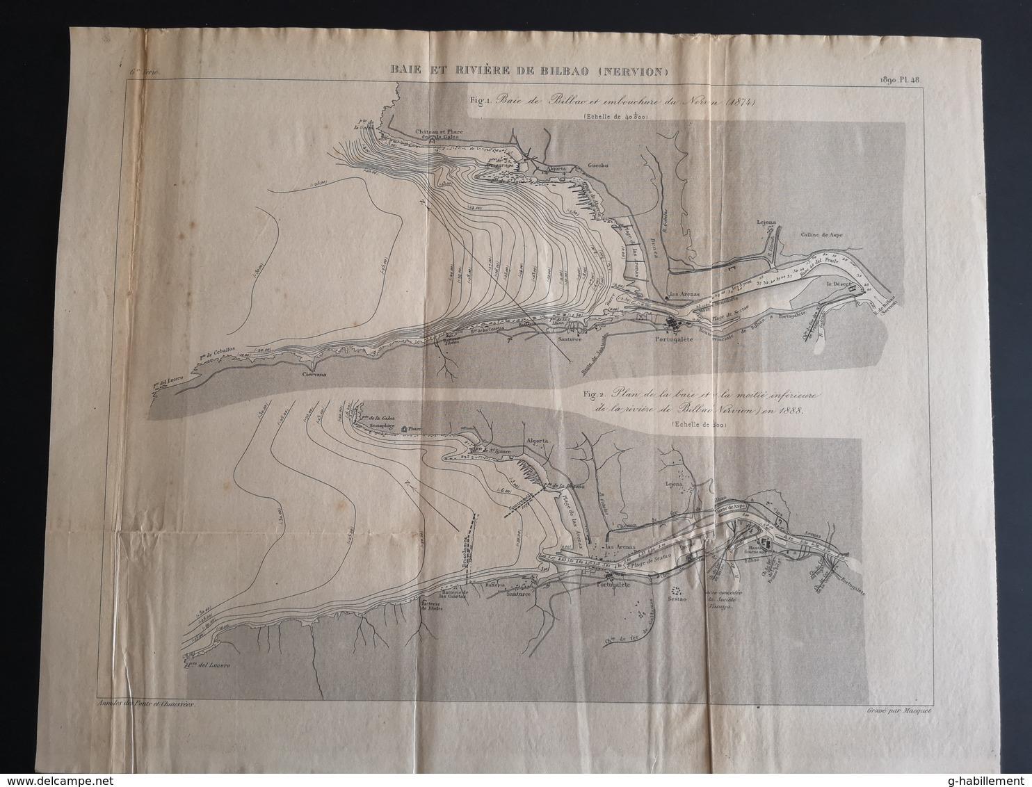 ANNALES PONTS Et CHAUSSEES (ESPAGNE) - Baie Et Rivière De Bilbao - Gravé Par Macquet 1890 (CLF66) - Travaux Publics