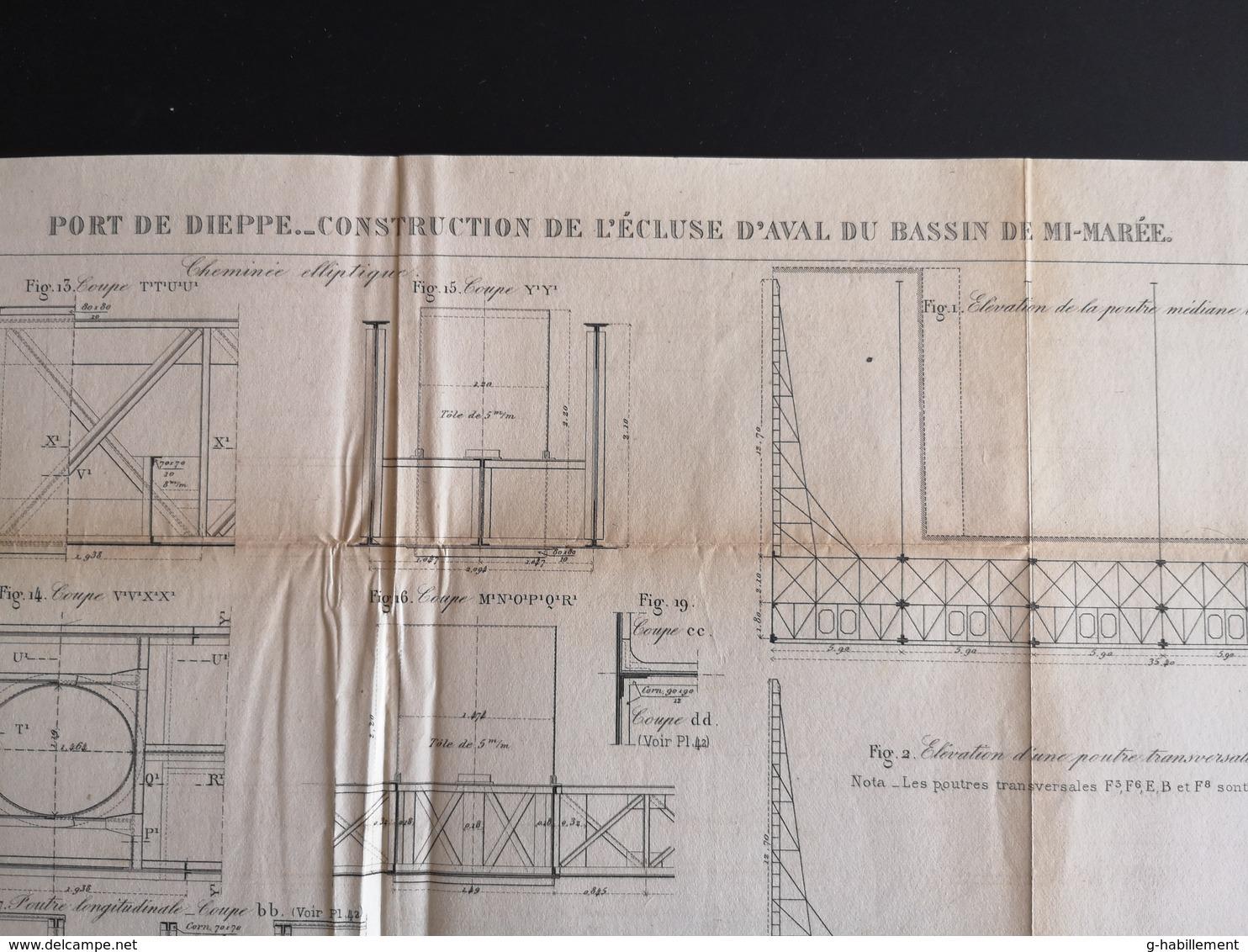 ANNALES DES PONTS Et CHAUSSEES (Dep 76) - Plan Du Port De Dieppe - Macquet 1887 (CLF70) - Travaux Publics