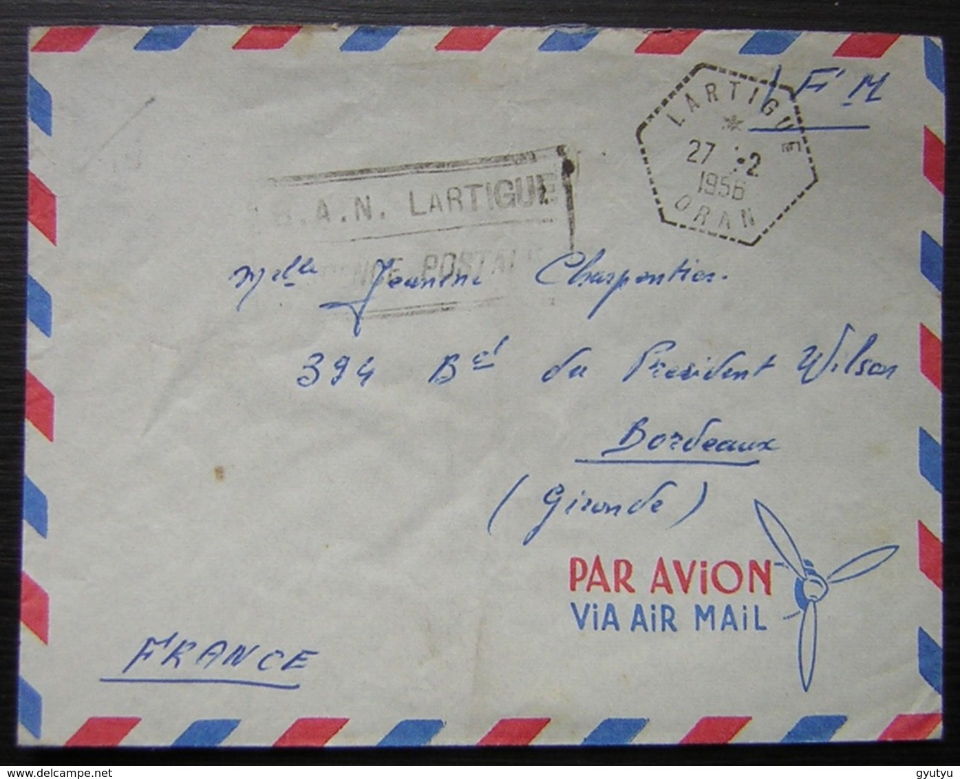 Oran Lartigue Algérie 1956 Cachet Hexagonal, Franchise Militaire B.A.N - Algeria (1924-1962)