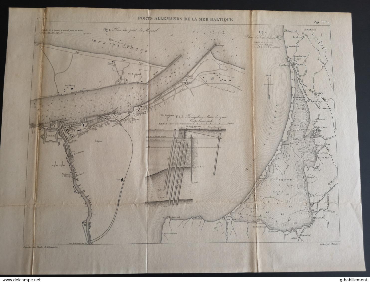 ANNALES DES PONTS Et CHAUSSEES (Allemagne) - Ports Allemands De La Mer Baltique - Gravé Par Macquet 1891 (CLF83) - Travaux Publics