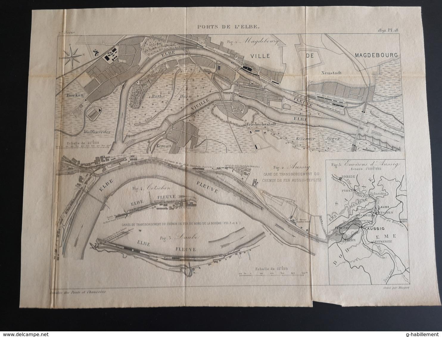 ANNALES DES PONTS Et CHAUSSEES (Allemagne) - Ports De L'Elbe - Gravé Par Macquet 1891 (CLF87) - Travaux Publics