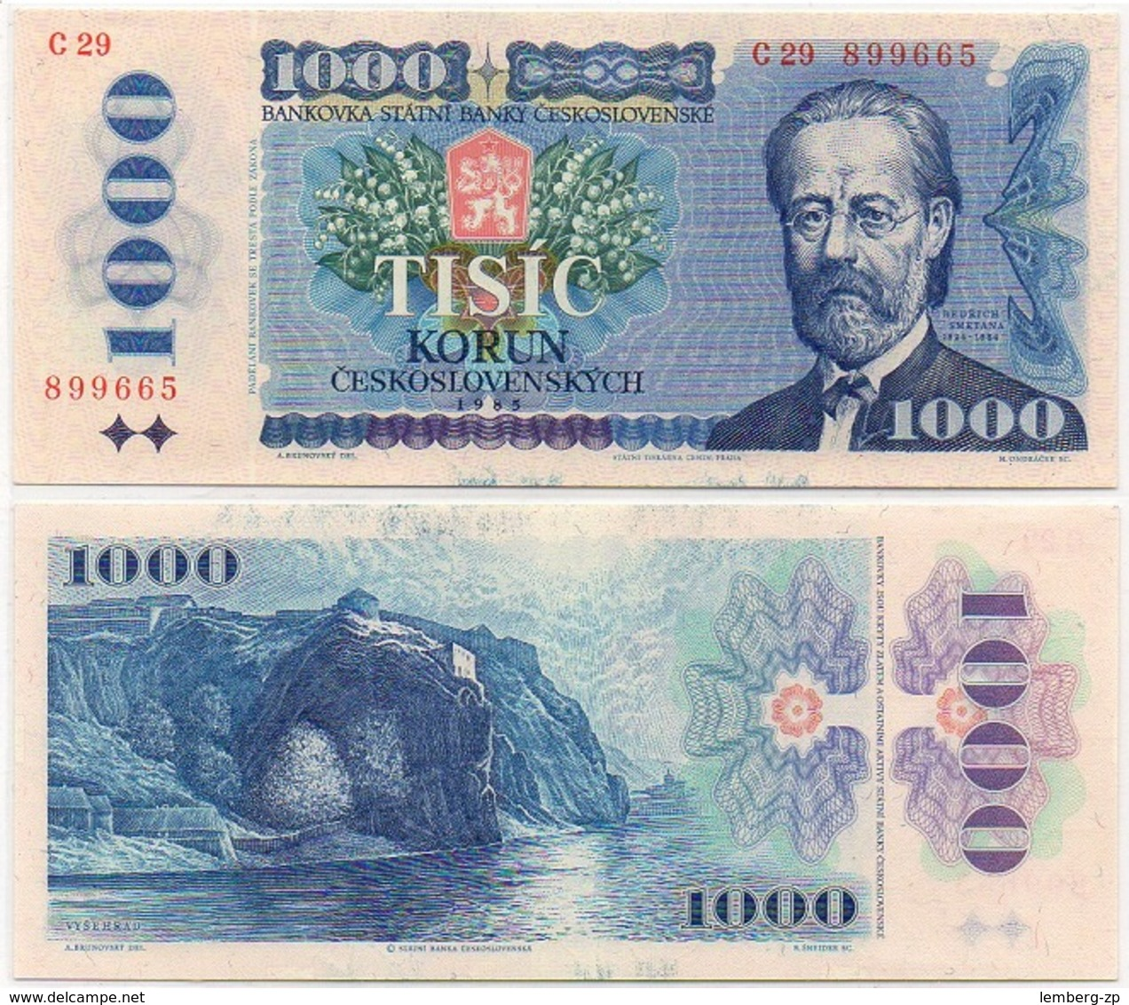 Czechoslovakia - 1000 Korun 1985 AUNC Lemberg-Zp - Tchécoslovaquie