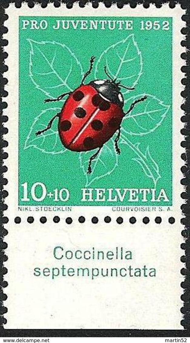 """Schweiz Suisse Pro Juventute 1952: Zu 144 Mi 576 Yv 527 ** MNH + Tab Latinum  """"Coccinella Septempunctatas(SBK CHF 4.00) - Insetti"""