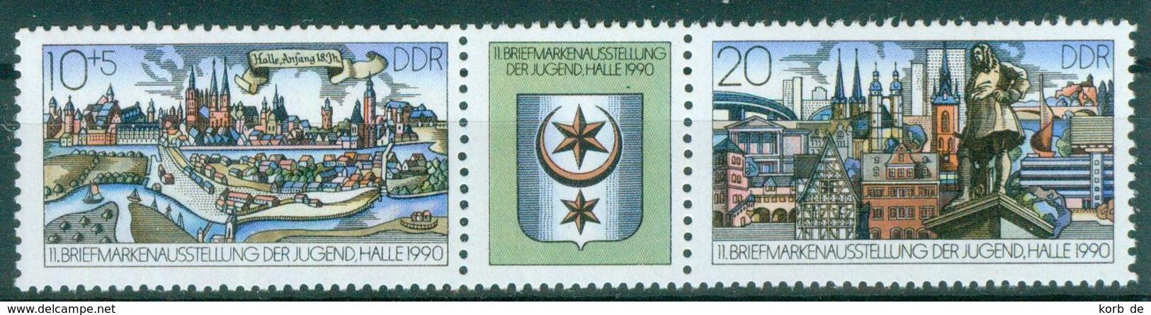 DDR 1990 / MiNr.    3338 - 3339  Dreierstreifen    ** / MNH   (r1723) - [6] République Démocratique