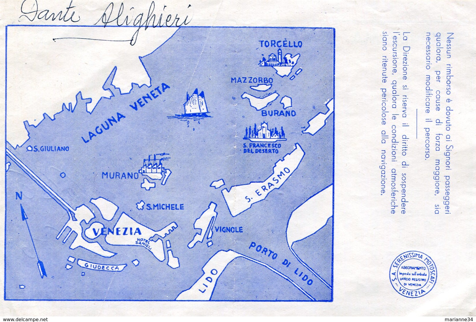 Tickets De Transports-Italie-Venise-Serenissima Motoscafi-excursions En Bateau - Europa