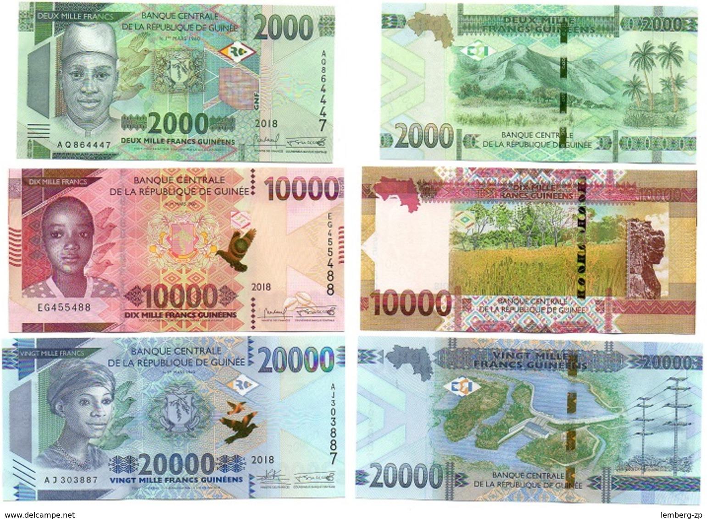 Guinea - Set 3 Banknotes 2000 10000 20000 Francs 2018 / 2019 UNC Lemberg-Zp - Guinée