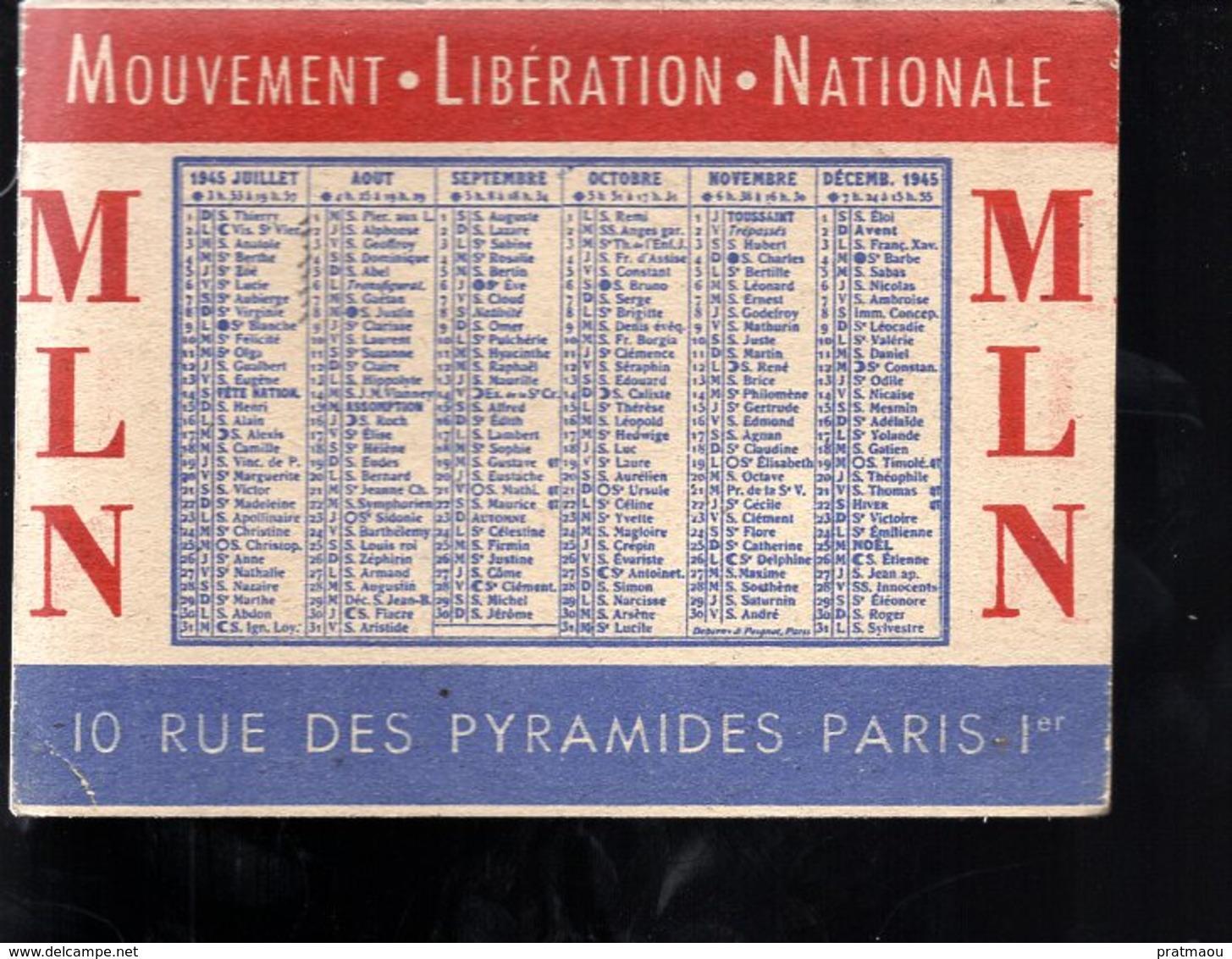 THMS DIV Calendrier 1945 M.L.N. Mouvement Libération Nationale Format 11x8 Cm - Tamaño Pequeño : 1941-60