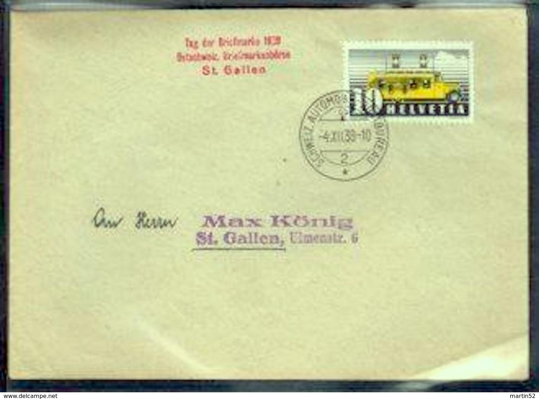 Schweiz Suisse 1938: Zu 210 Tag Der Briefmarke 1938 St.Gallen Ostschweiz.Briefmarkenbörse 4.XII.38 AUTOMOBIL-POSTBUREAU - Tag Der Briefmarke