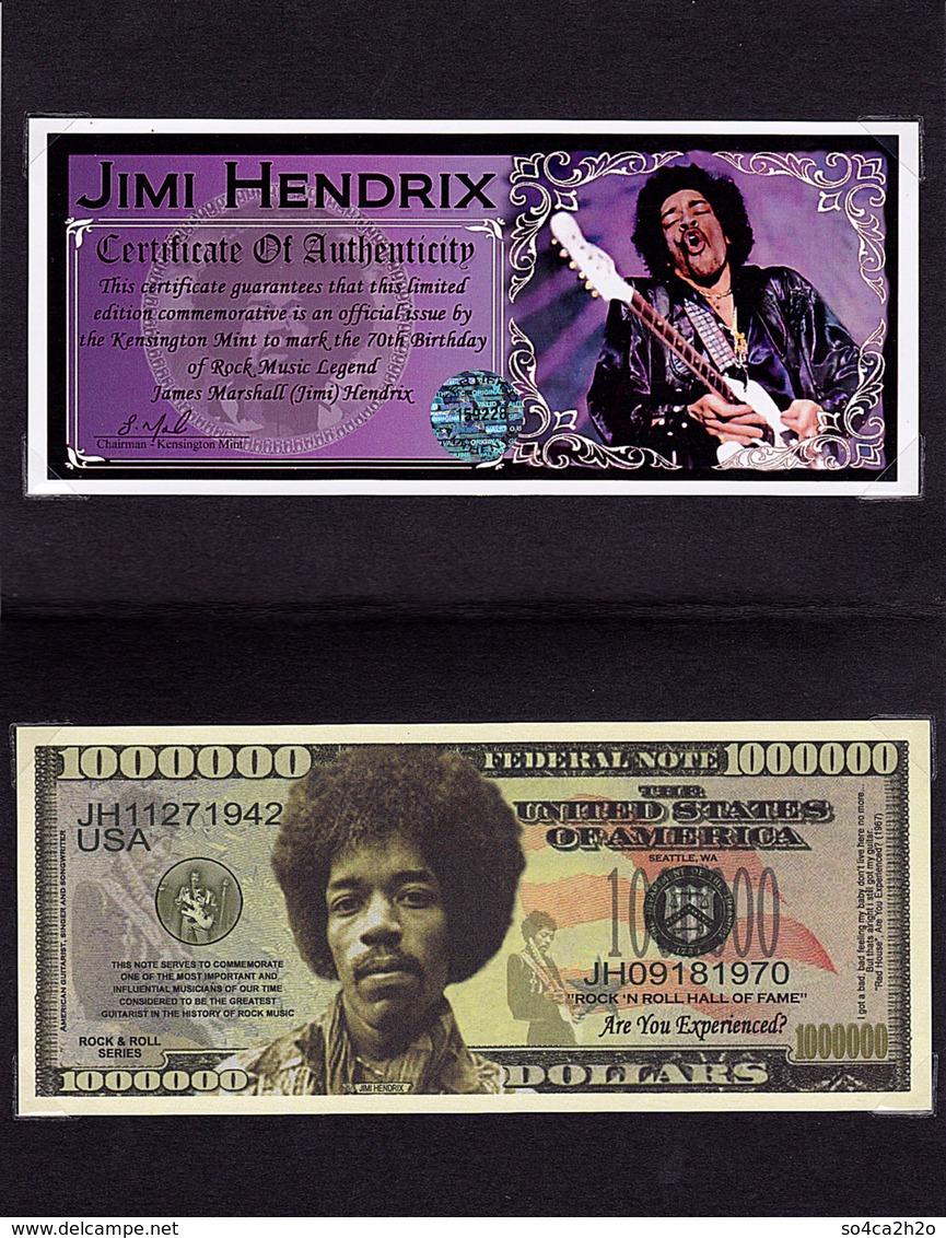 Jimi HENDRIX 1 000 000 $ Commémoratif 2012 UNC - Ficción & Especímenes