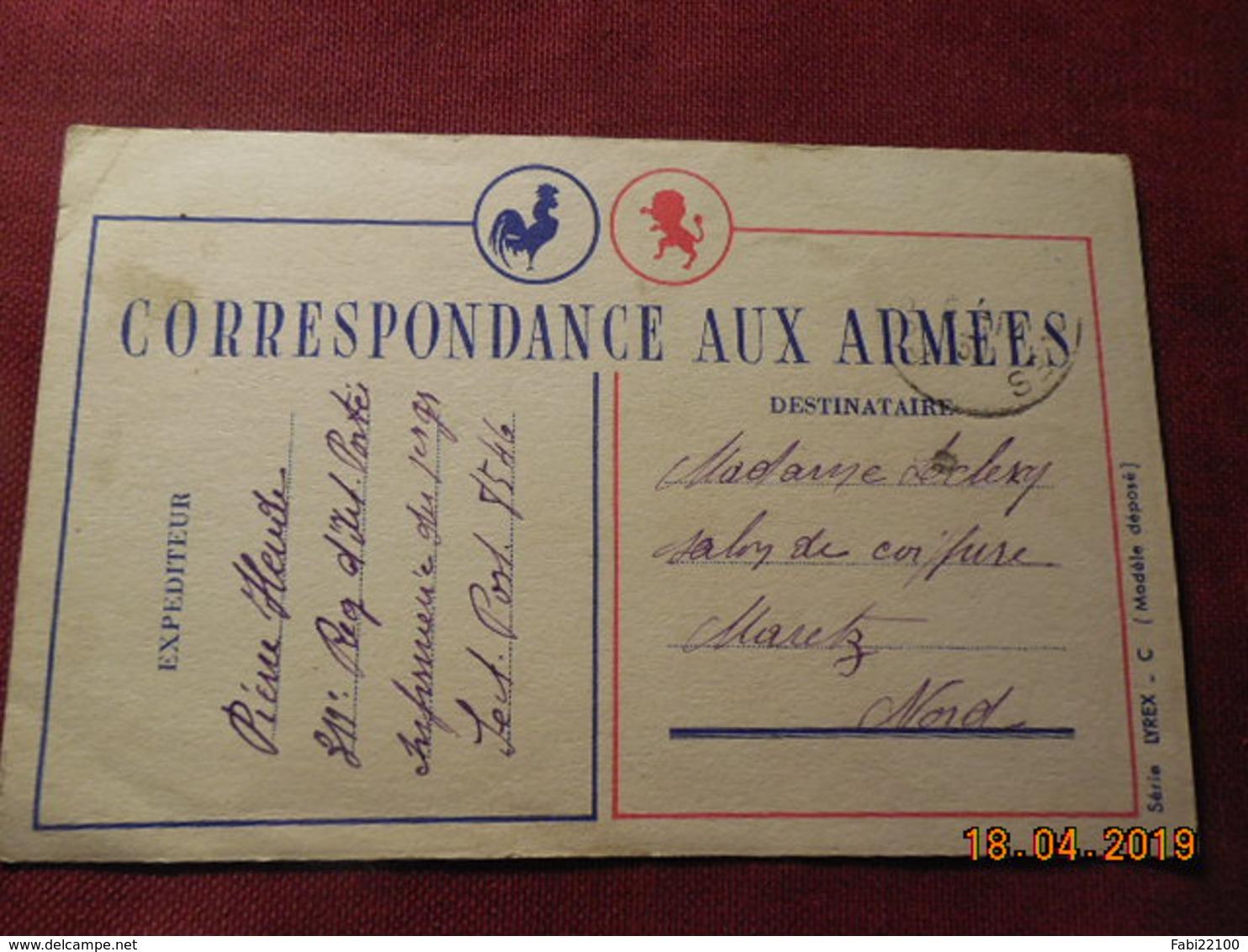 Carte En FM De 1939 à Destination De Maretz - Cartes De Franchise Militaire