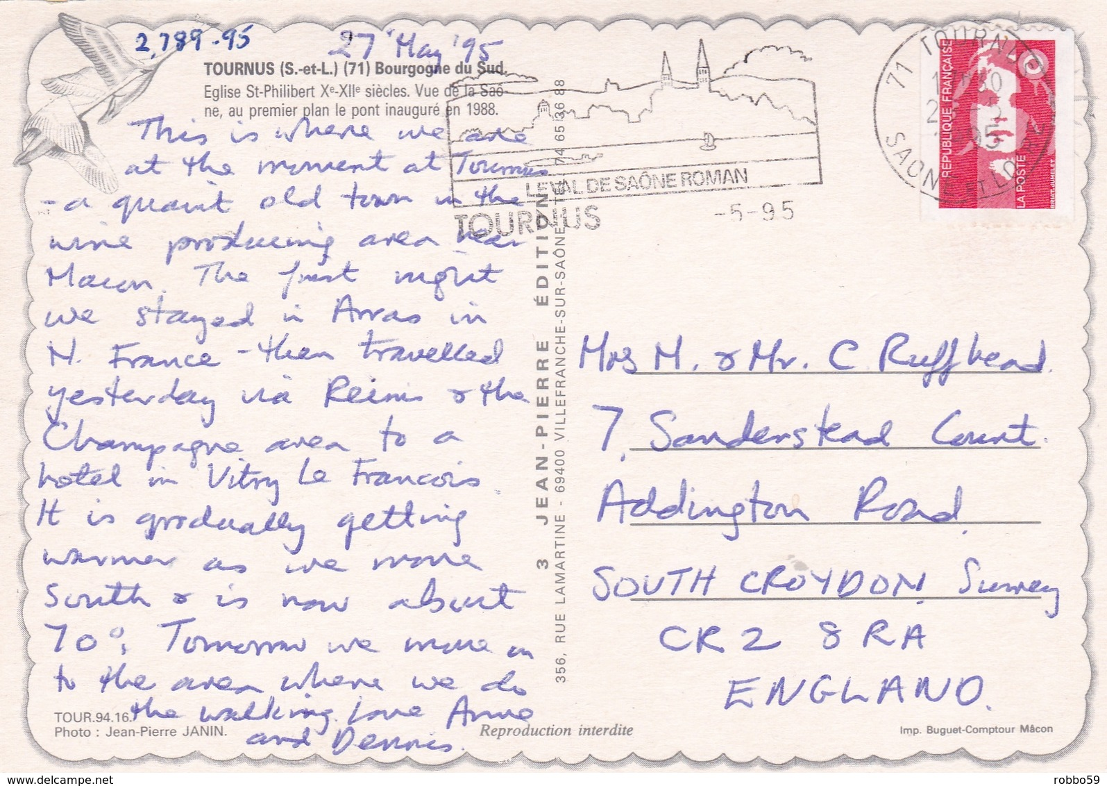 France Tournus With St Philibert Church  Postcard Tournus 1995 Postmark With Slogan Used Good Condition - France