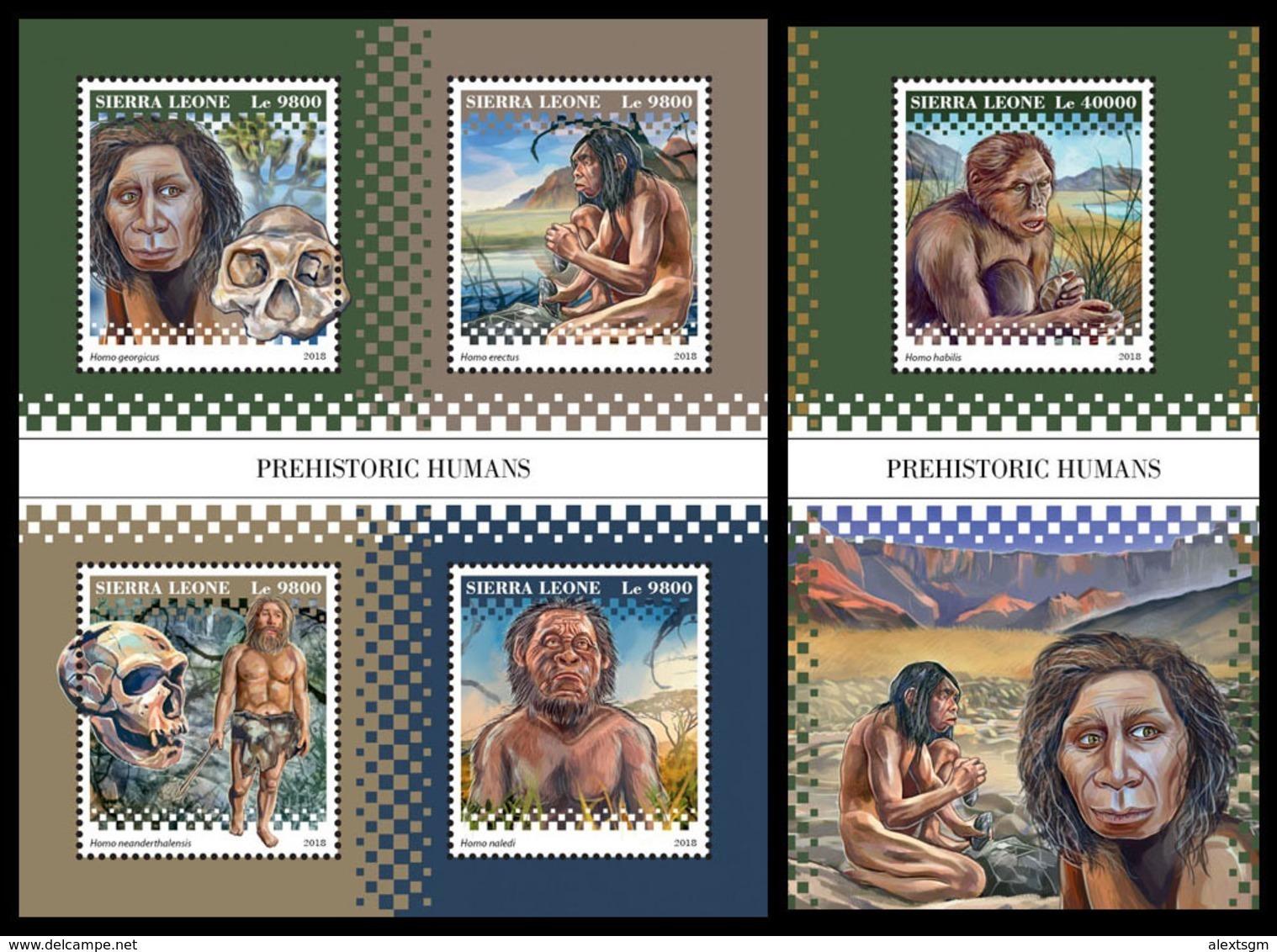 SIERRA LEONE 2018 - Prehistoric Humans. M/S + S/S Official Issue. - Prehistorie