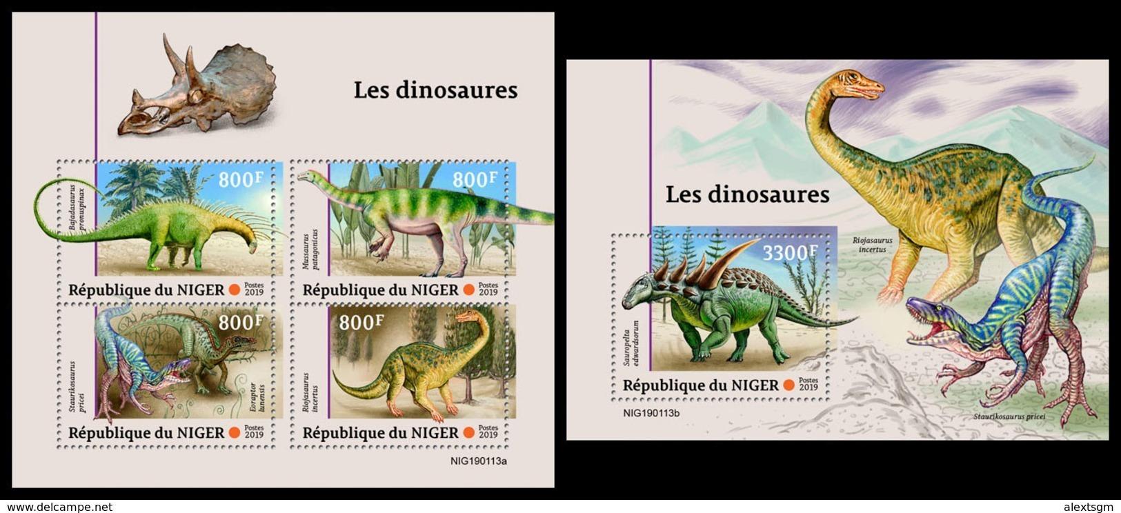 NIGER 2019 - Dinosaurs, M/S + S/S. Official Issue - Prehistorisch