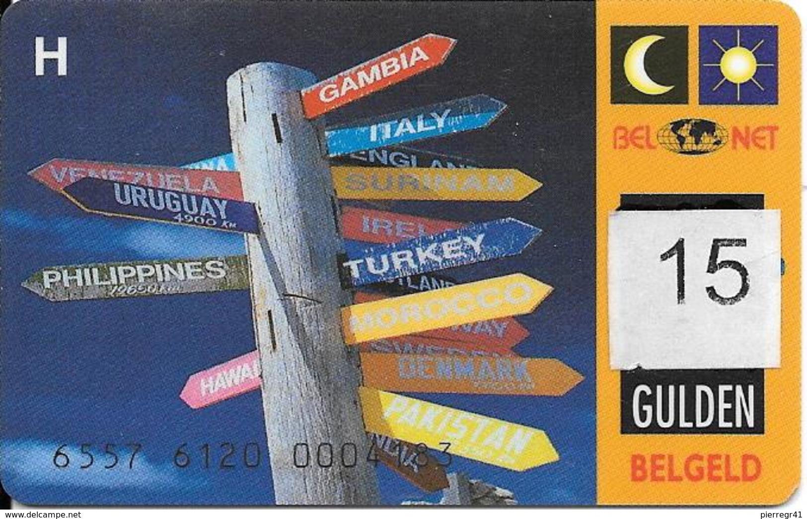 CARTE-PREPAYEE-BELGE-BELGELD-15 GULDEN-R° N° Gravés-Plastic Epais-TBE-RARE - Belgique