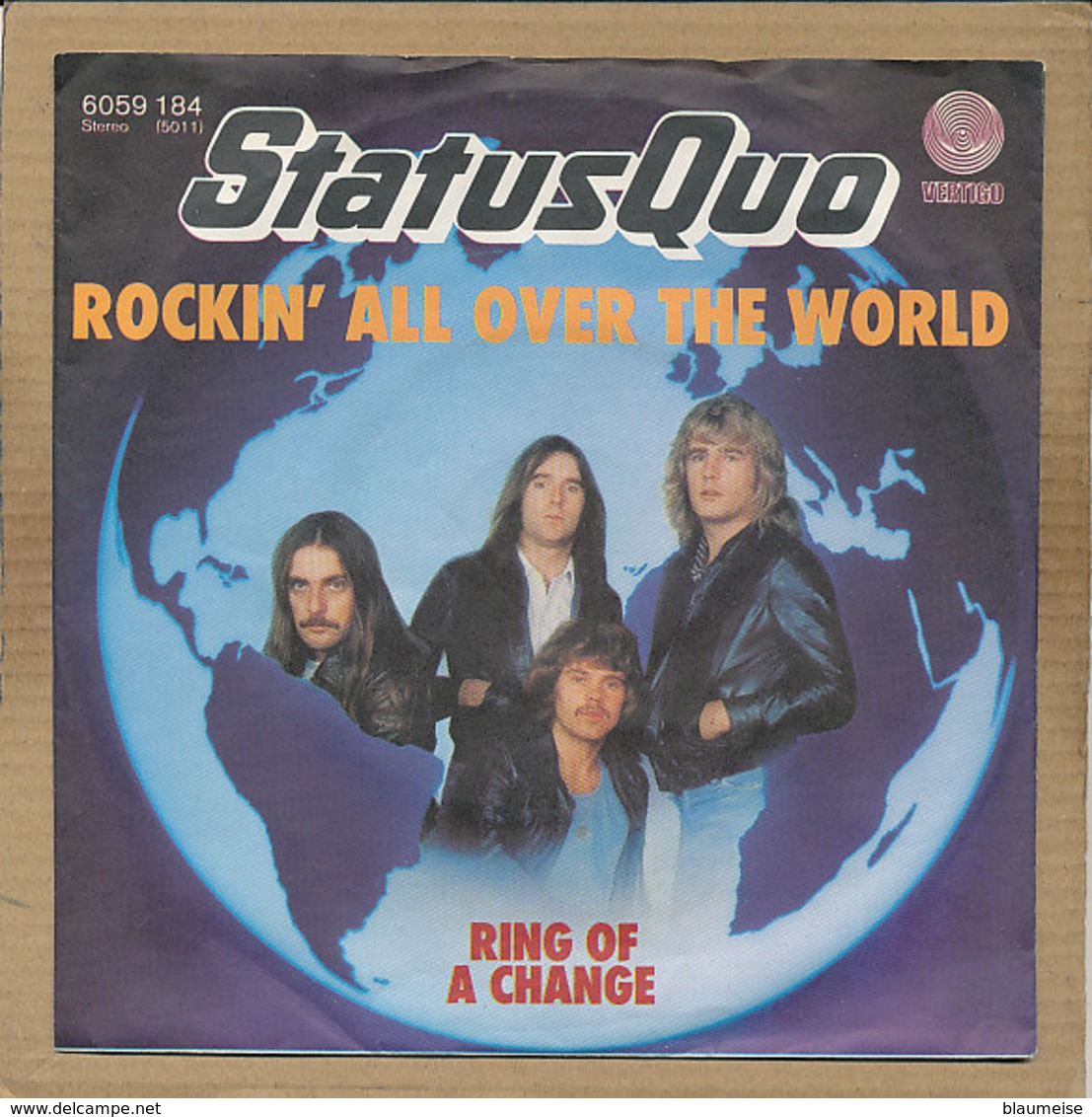 """7"""" Single, Status Quo, Rockin All Over The World - Rock"""