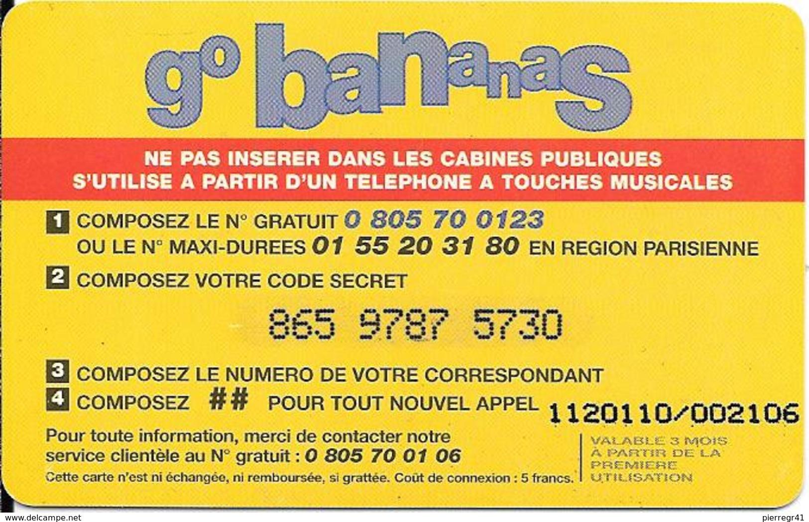CARTE-PREPAYEE-FRANCE-100F--GO BANANAS-PLASTIFIE- GRATTEE- T BE- - Autres Prépayées