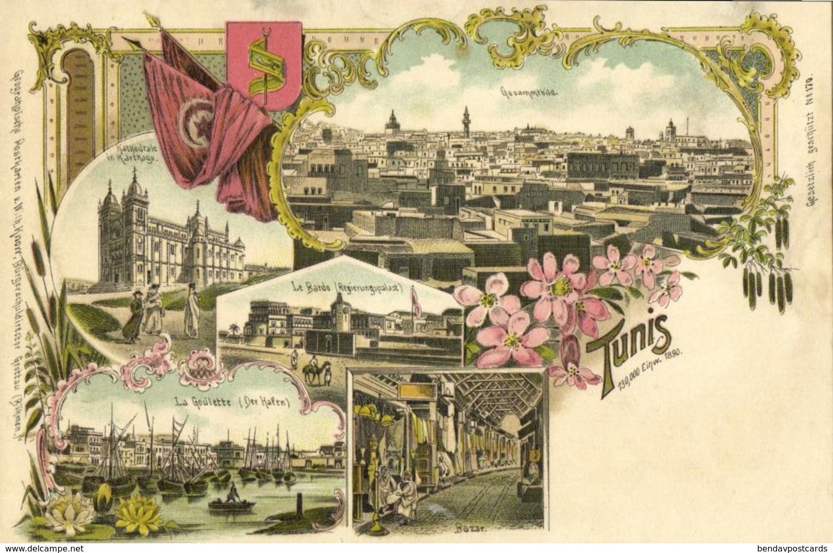 Tunisia, TUNIS, Cathedral, Bazar, Harbour, Flag (1899) Multiview Litho Postcard - Tunisia
