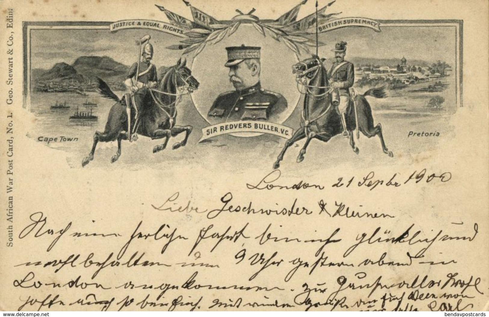 BOER WAR, General Sir Redvers Henry Buller, Cape Town, Pretoria (1900) Postcard - Other Wars