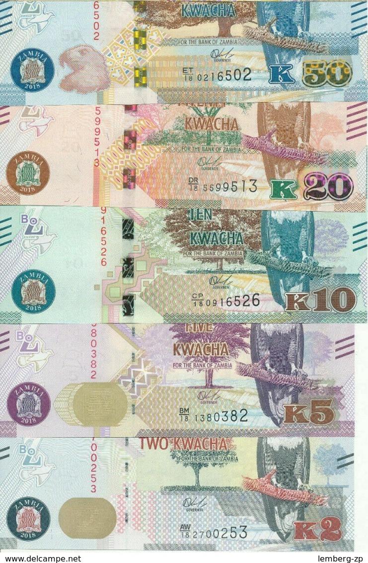 Zambia - Set 5 Banknotes 2 5 10 20 50 Kwacha 2018 UNC Lemberg-Zp - Zambie