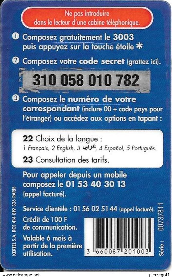 CARTE-PREPAYEE-KERTEL-MAXI MINUTE-100F-FRANCE--CAROTTE-V° BLEU-GRATTE-TB E - Autres Prépayées