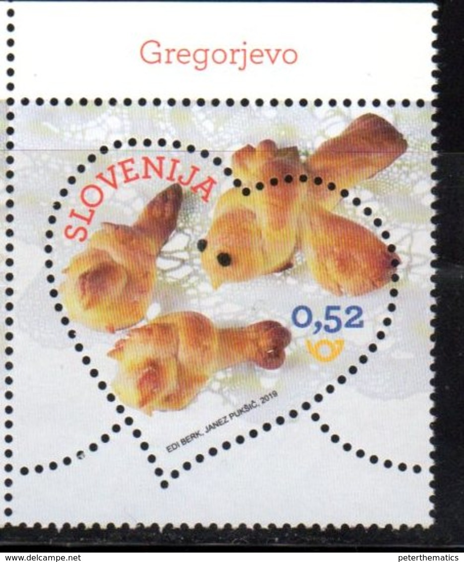 SLOVENIA , 2019, MNH, VALENTINES DAY, SWEETS, HEART-SHAPED STAMP, 1v - Other