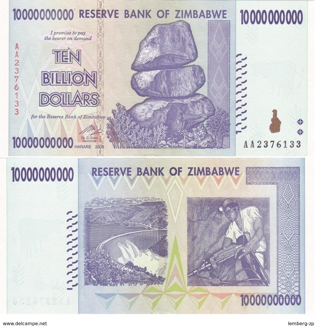 Zimbabwe - 10 Billion Dollars 2008 UNC / AUNC 10000000000 $ Pick 85 Lemberg-Zp - Zimbabwe