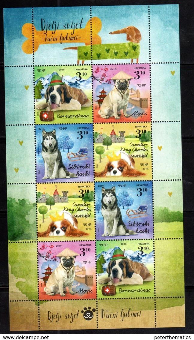 CROATIA, 2019, MNH, CHILDREN'S WORLD, PETS, DOGS, MOUNTAINS, SHEETLET OF 2 SETS - Hunde