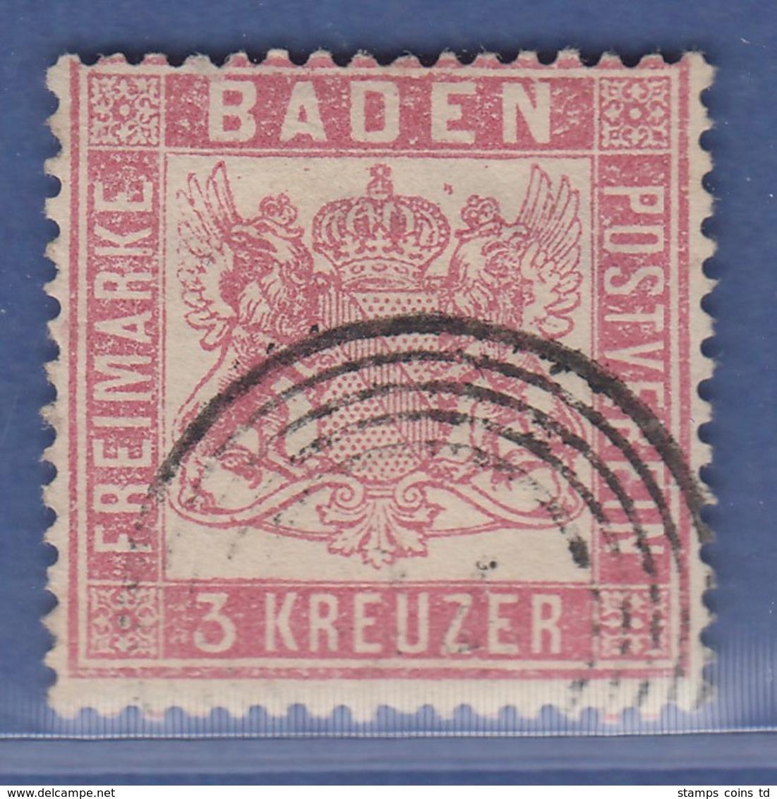 Altdeutschland Baden 3 Kreuzer Rot Mi.-Nr. 16 Gestempelt - Bade