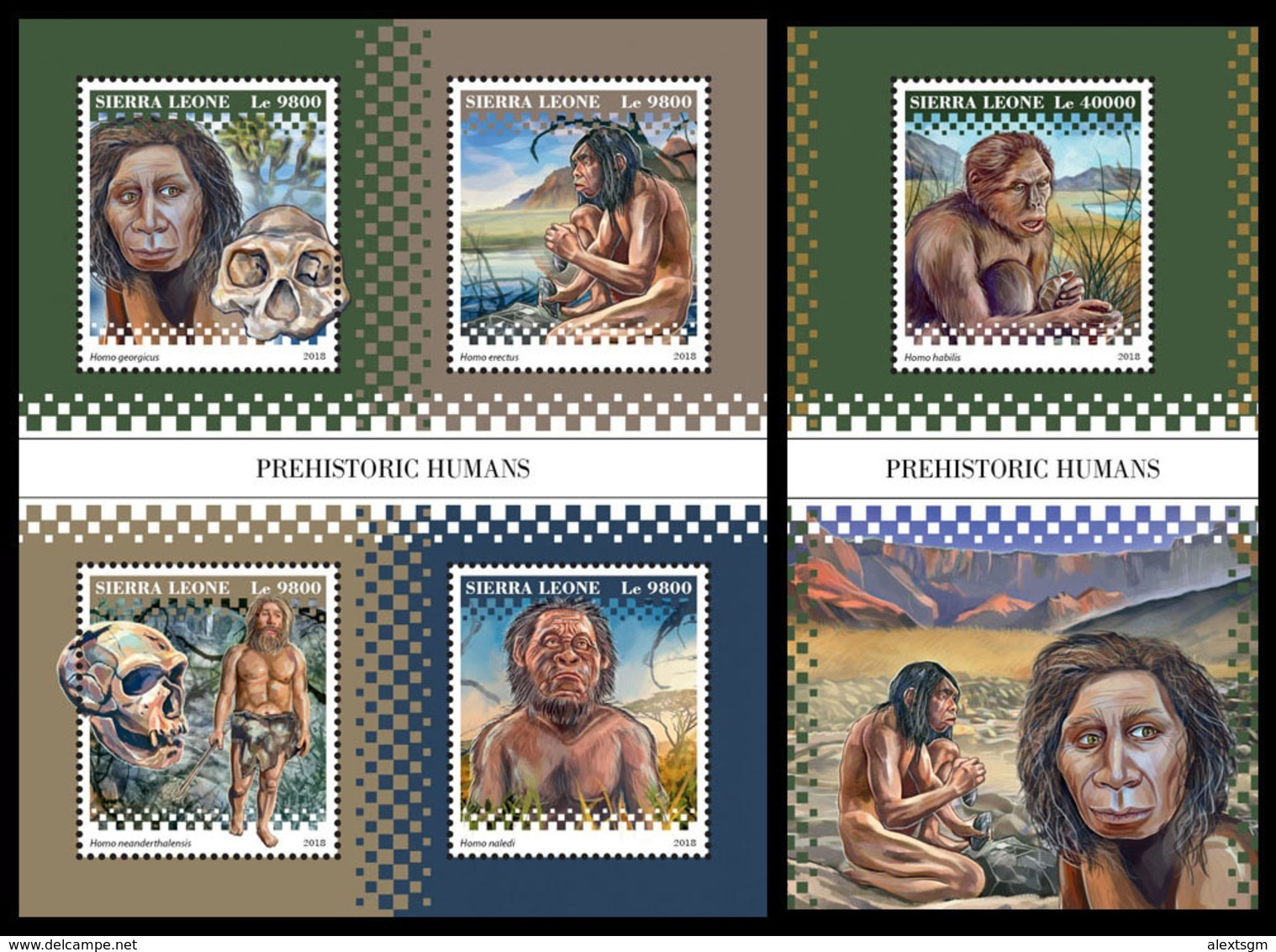 SIERRA LEONE 2018 - Prehistoric Humans. M/S + S/S Official Issue. - Archeologie