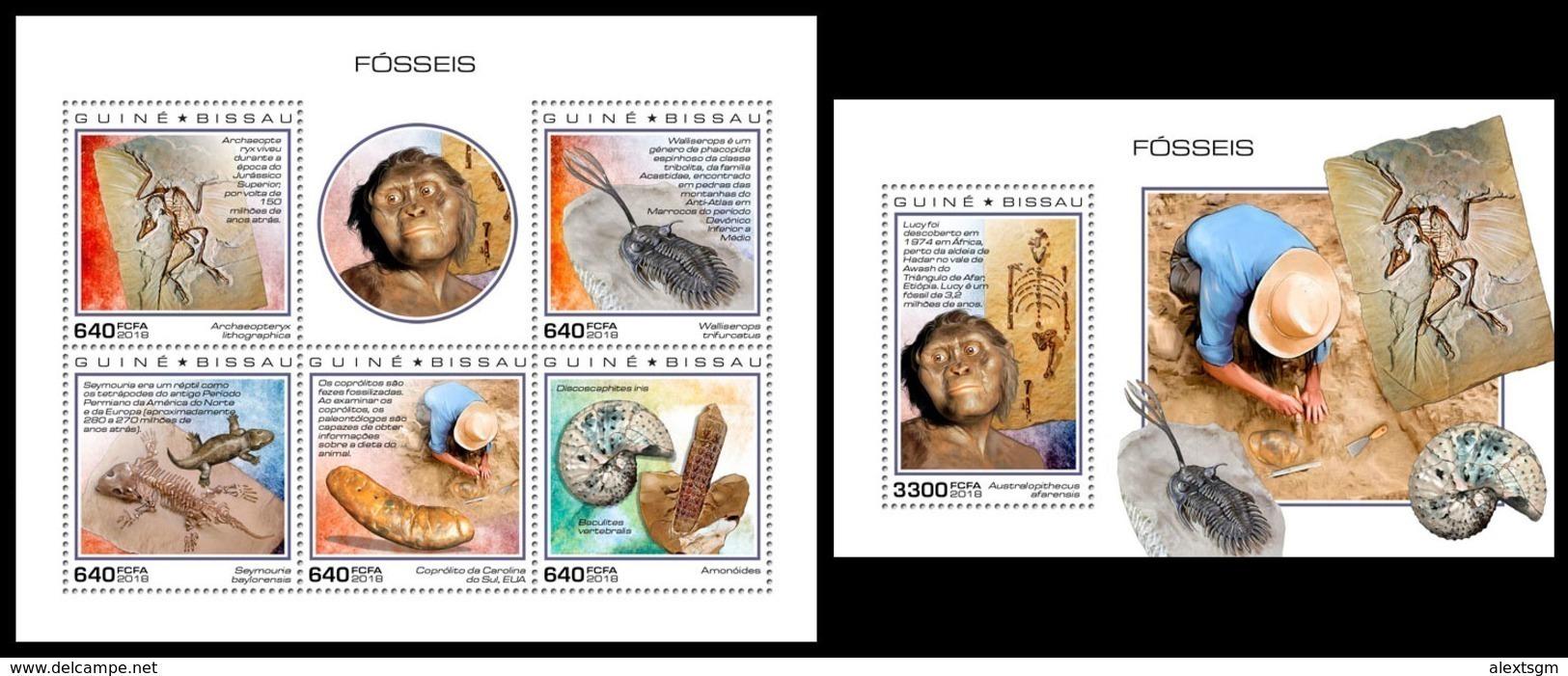 GUINEA BISSAU 2018 - Fossils. M/S + S/S. Official Issue - Prehistorisch
