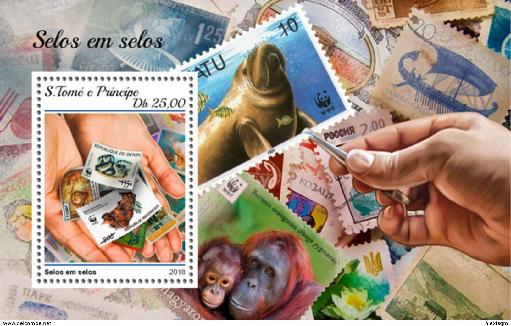 S. TOME & PRINCIPE 2018 - Rhinoceros On Stamps (Small) S/S. Official Issue - Neushoorn