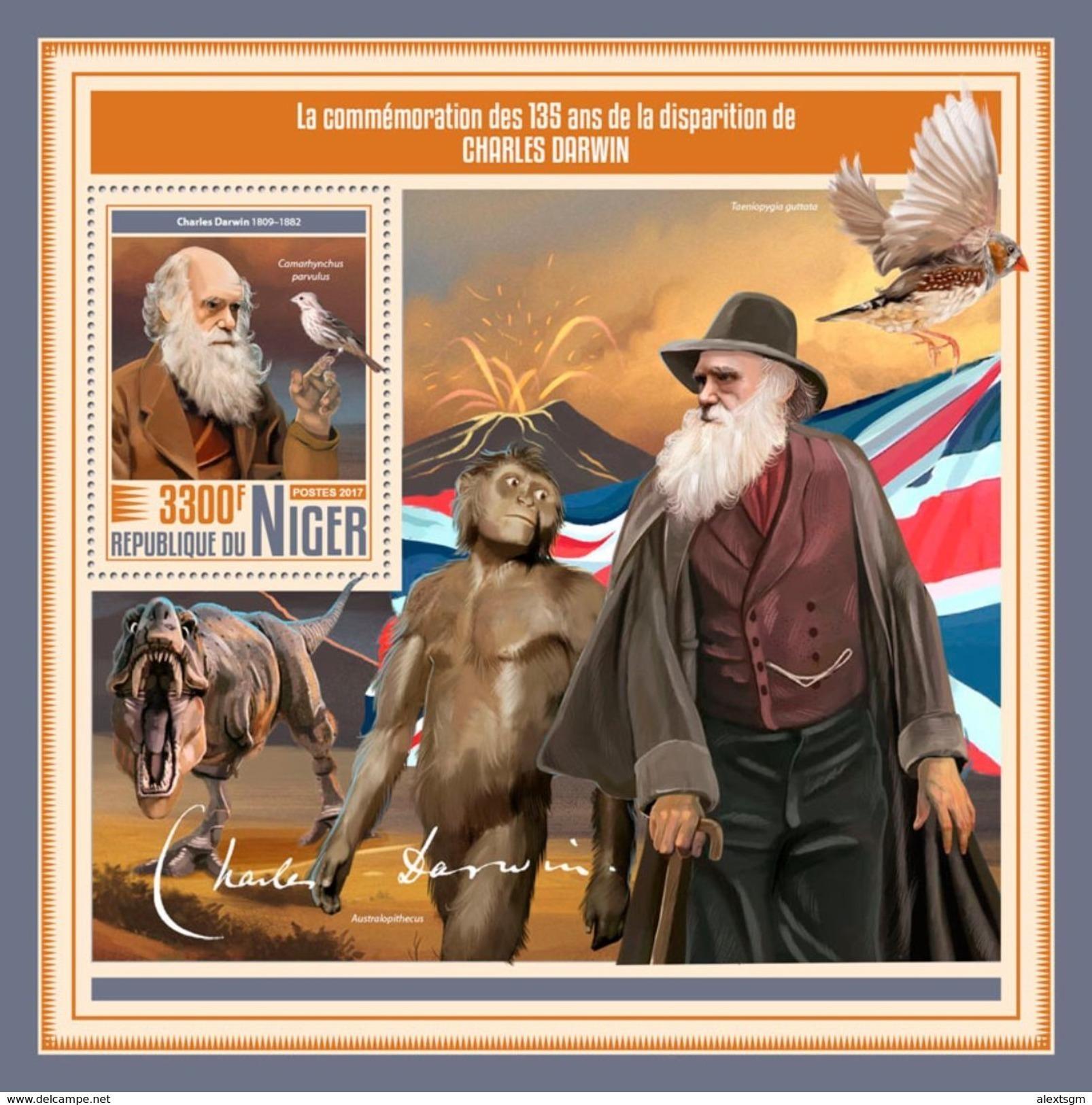NIGER 2017 - Darwin, Dinosaur S/S. Official Issue - Prehistorisch