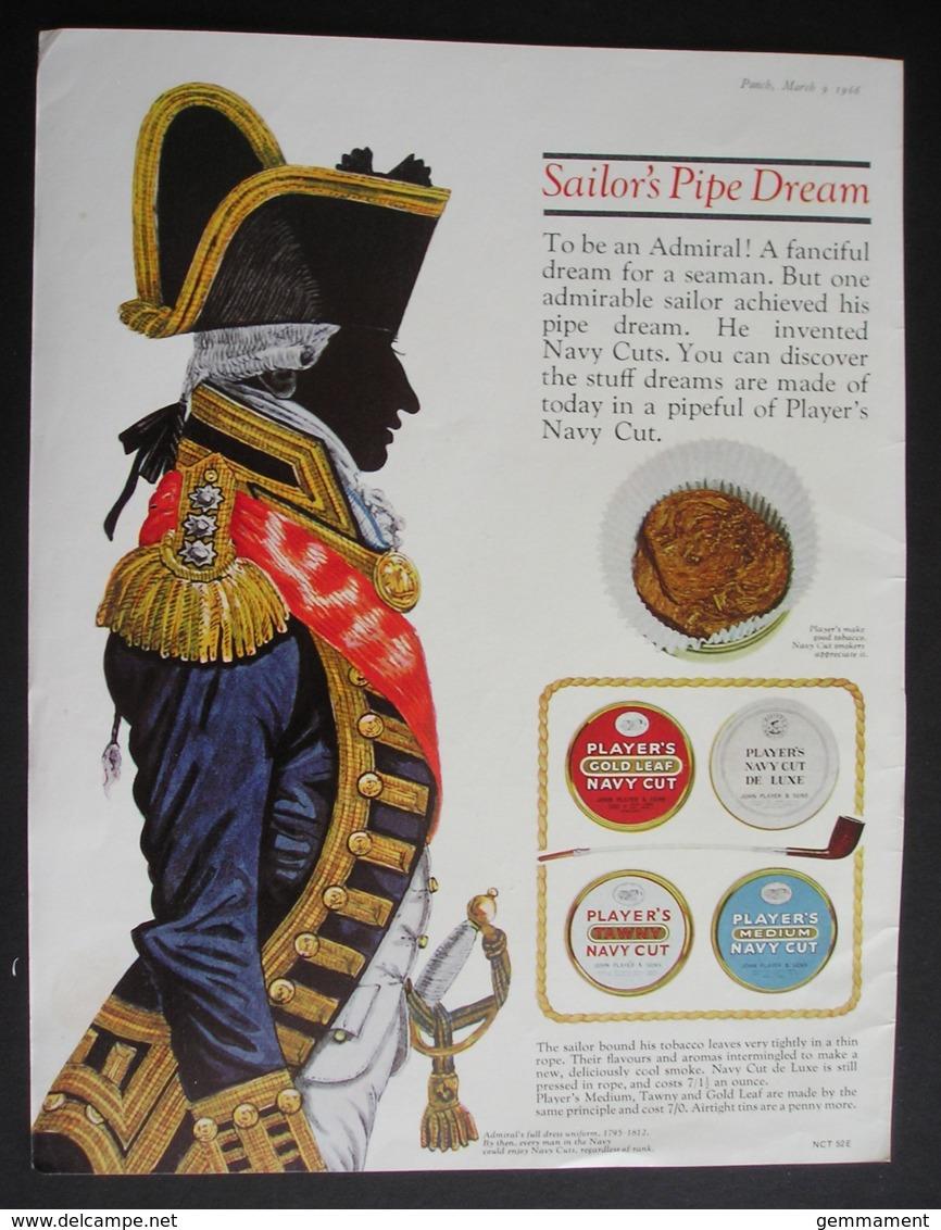 PLAYERSTOBACCO . ORIGINAL 1966 MAGAZINE ADVERT . SAILORES PIPE DREAM - Advertising