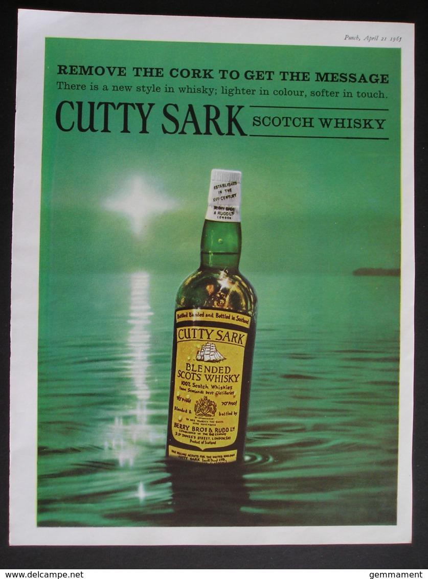 CUTTY SARK SCOTCH WHISKY. ORIGINAL 1965 MAGAZINE ADVERT - Advertising