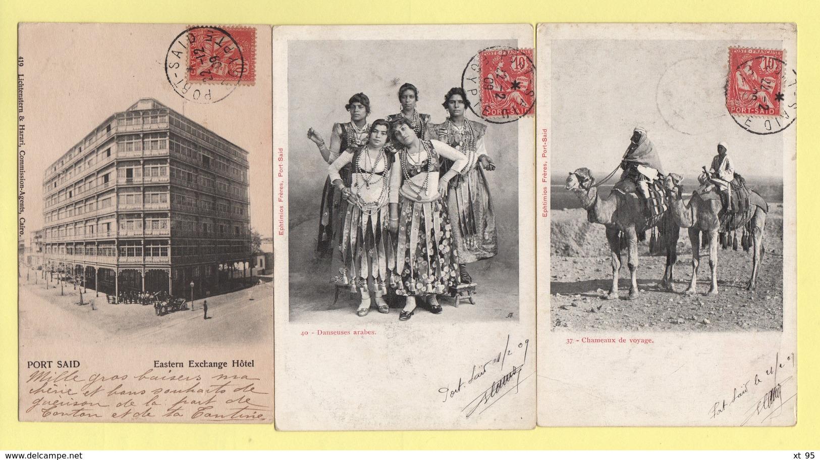 Port Said - Lot De 3 Cartes Postales - Type Mouchon - Port-Saïd (1899-1931)