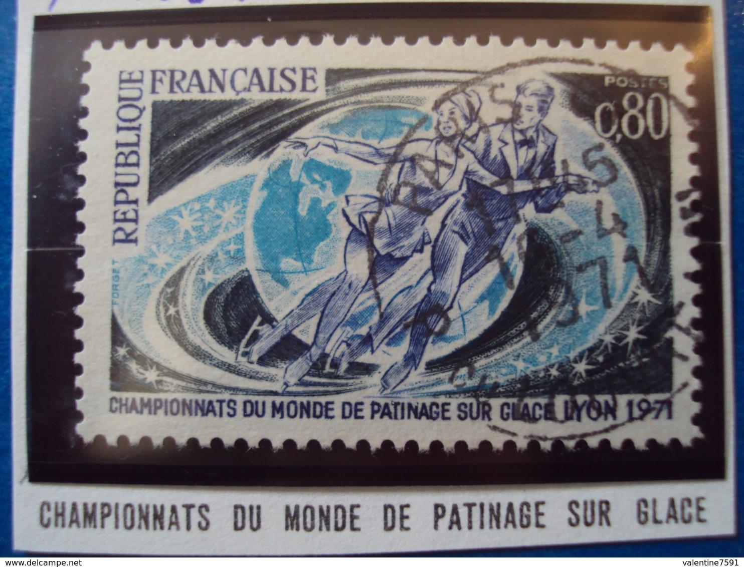 """1970-79- Timbre Oblitéré N°1665   """" Championnat Du Mon Patinage Sur Glace    """"     0.50 - France"""