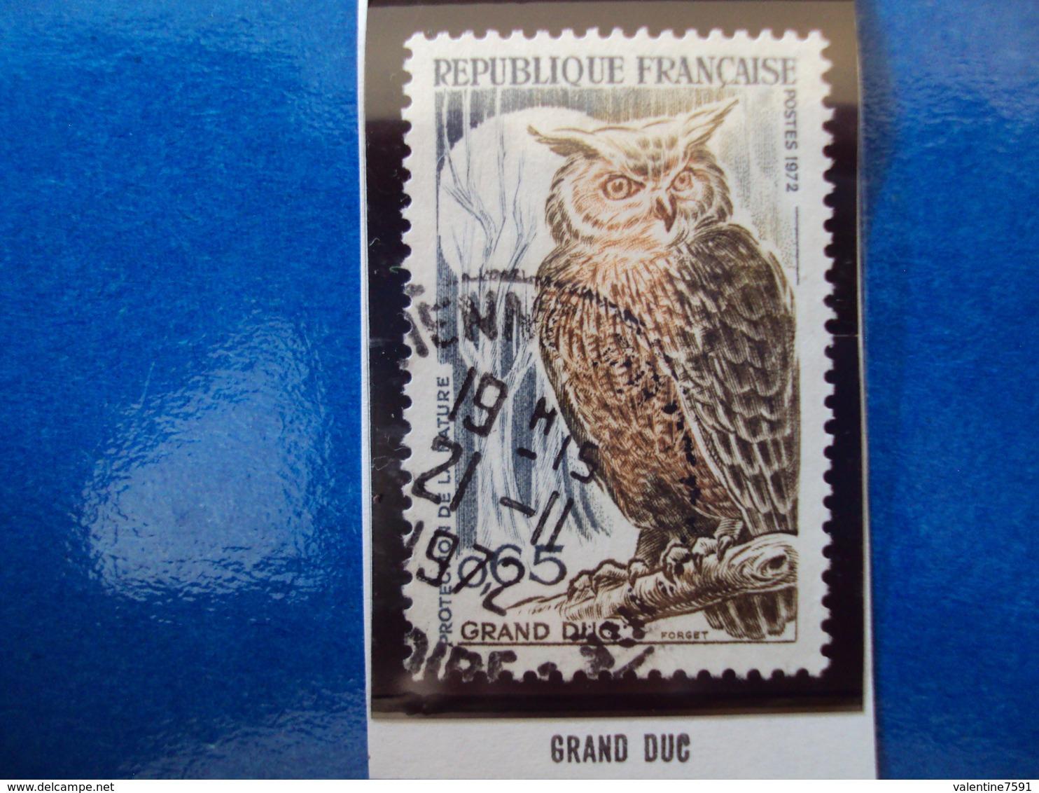 """1970-79-timbre Oblitéré N°   1694  """"   Grand Duc, Chouette    """"  0.80 - France"""