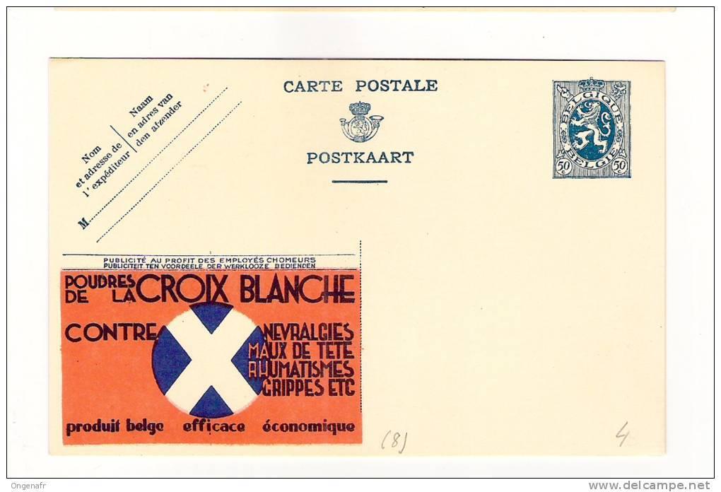 Publibel Neuve N°  8 (poudres De La Croix-Blanche  Contre Névralgies; Grippes...) - Entiers Postaux