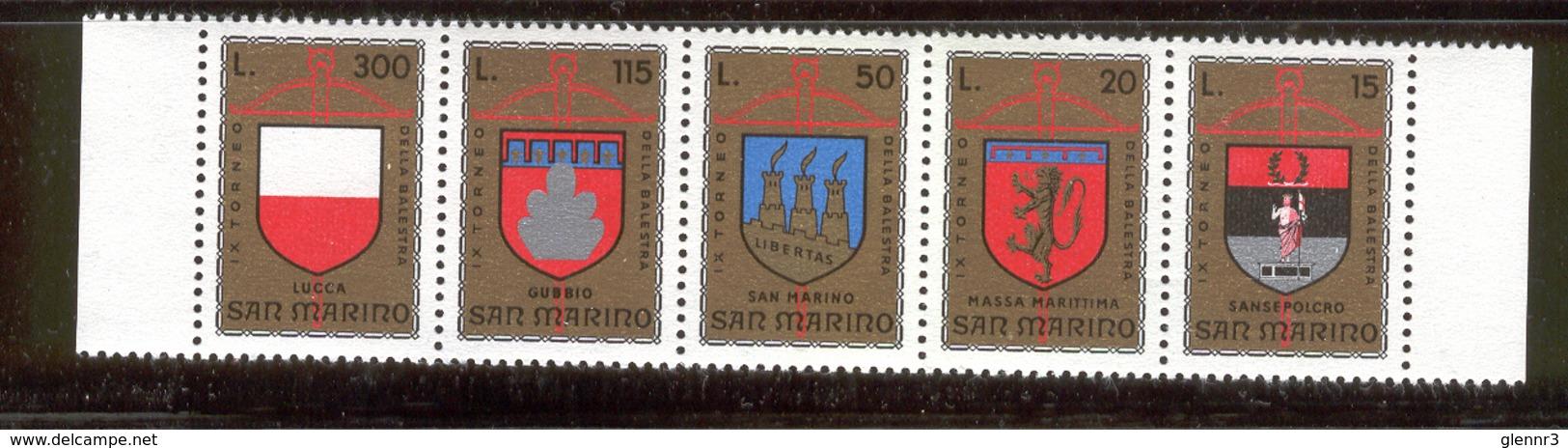 SAN MARINO 1974 Crossbow Tournament, Coats Of Arms Scott Cat. No(s). 847a MNH Strip Of 5 - San Marino
