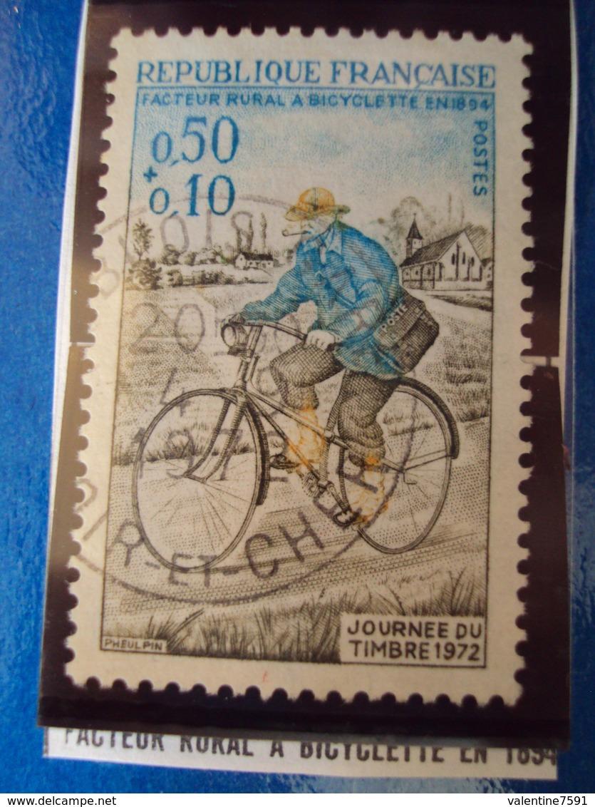 """1970-79-timbre Oblitéré N°   1710  """"  Facteur Rural à Bicyclette     """"     0.50 - France"""
