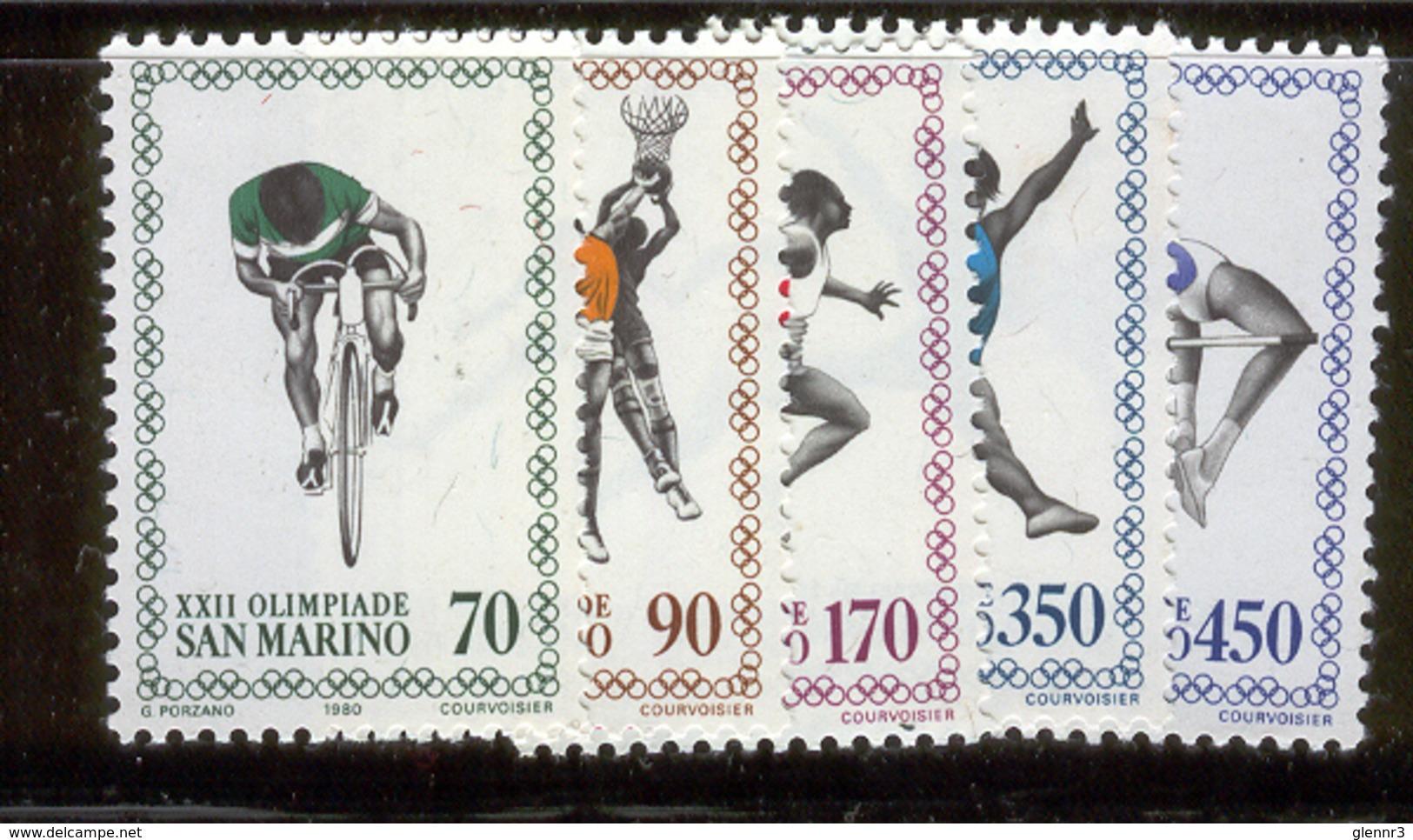 SAN MARINO 1980 Moscow Summer Olympics Scott Cat. No(s). 987-991 MNH - San Marino