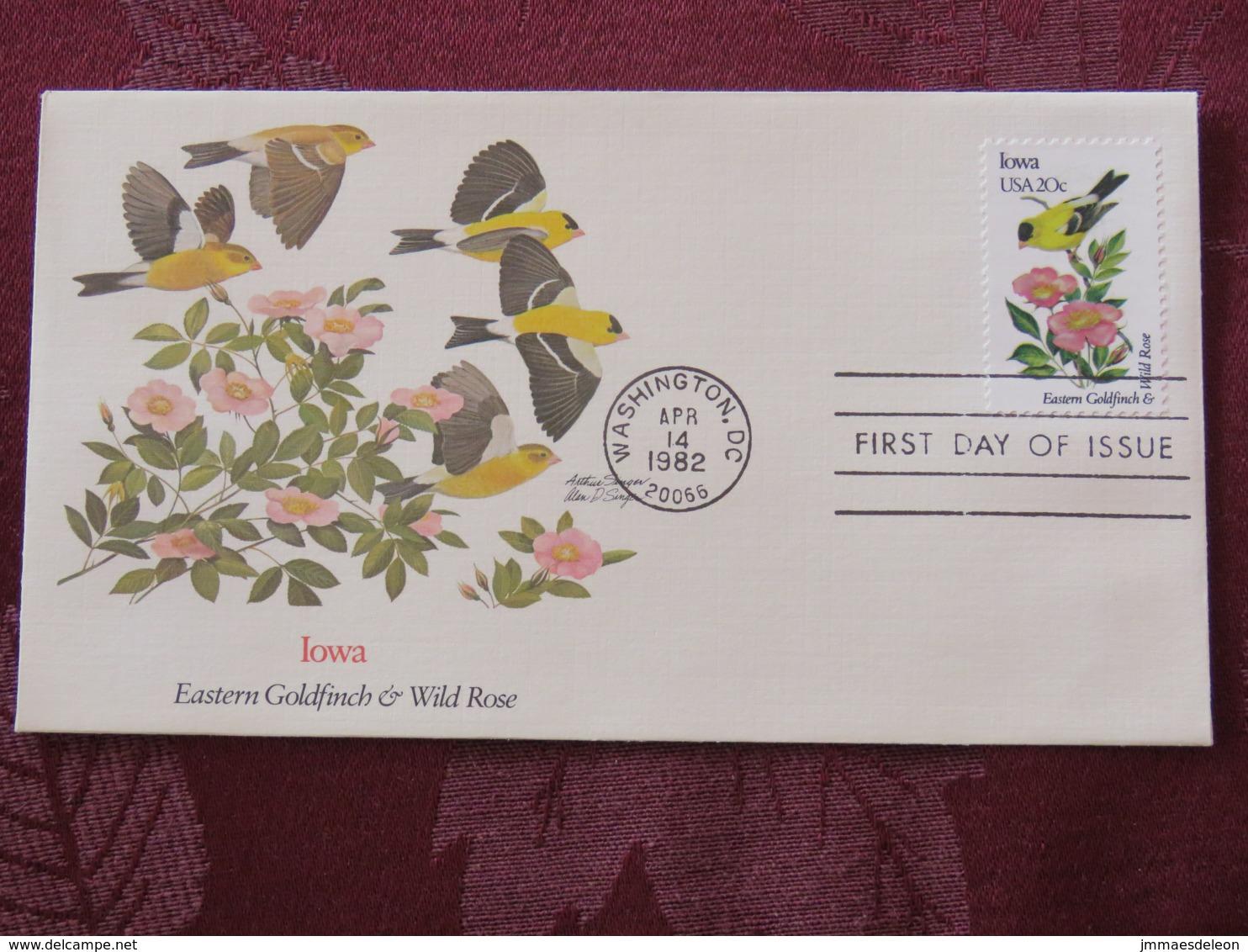USA 1982 FDC Cover Washington - Iowa State Bird And Flower - Goldfinch - Etats-Unis