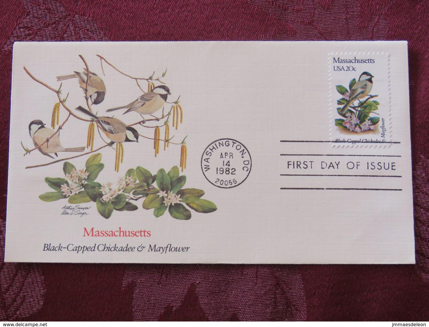 USA 1982 FDC Cover Washington - Massachusetts State Bird And Flower - Etats-Unis