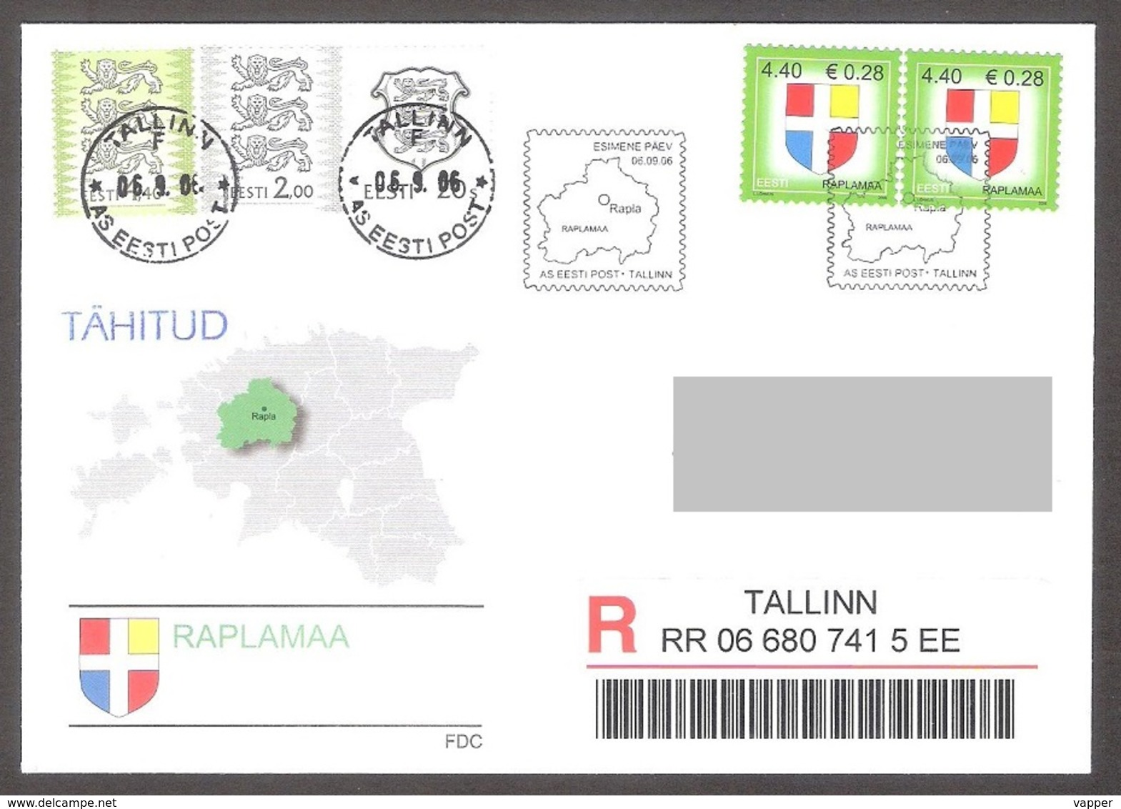 Estonia 2006 2 Stamps FDC Rapla County Mi 565 REGISTERED - Timbres