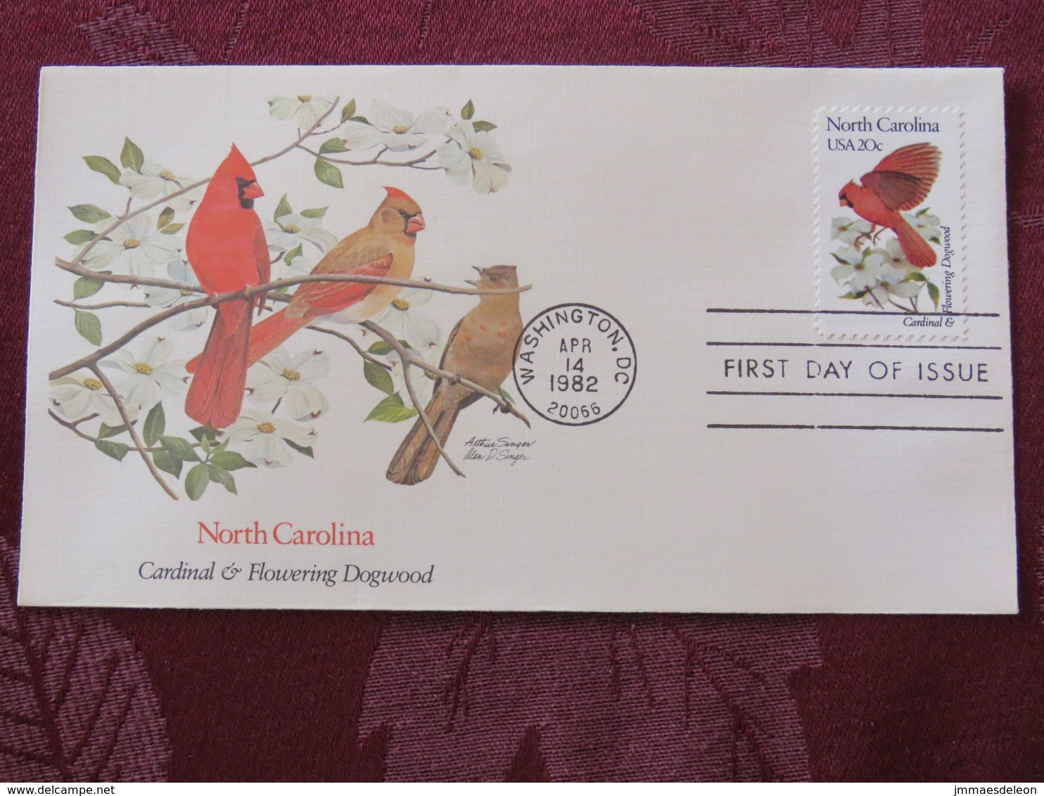 USA 1982 FDC Cover Washington - North Carolina State Bird And Flower - Cardinal - Dogwood - Etats-Unis