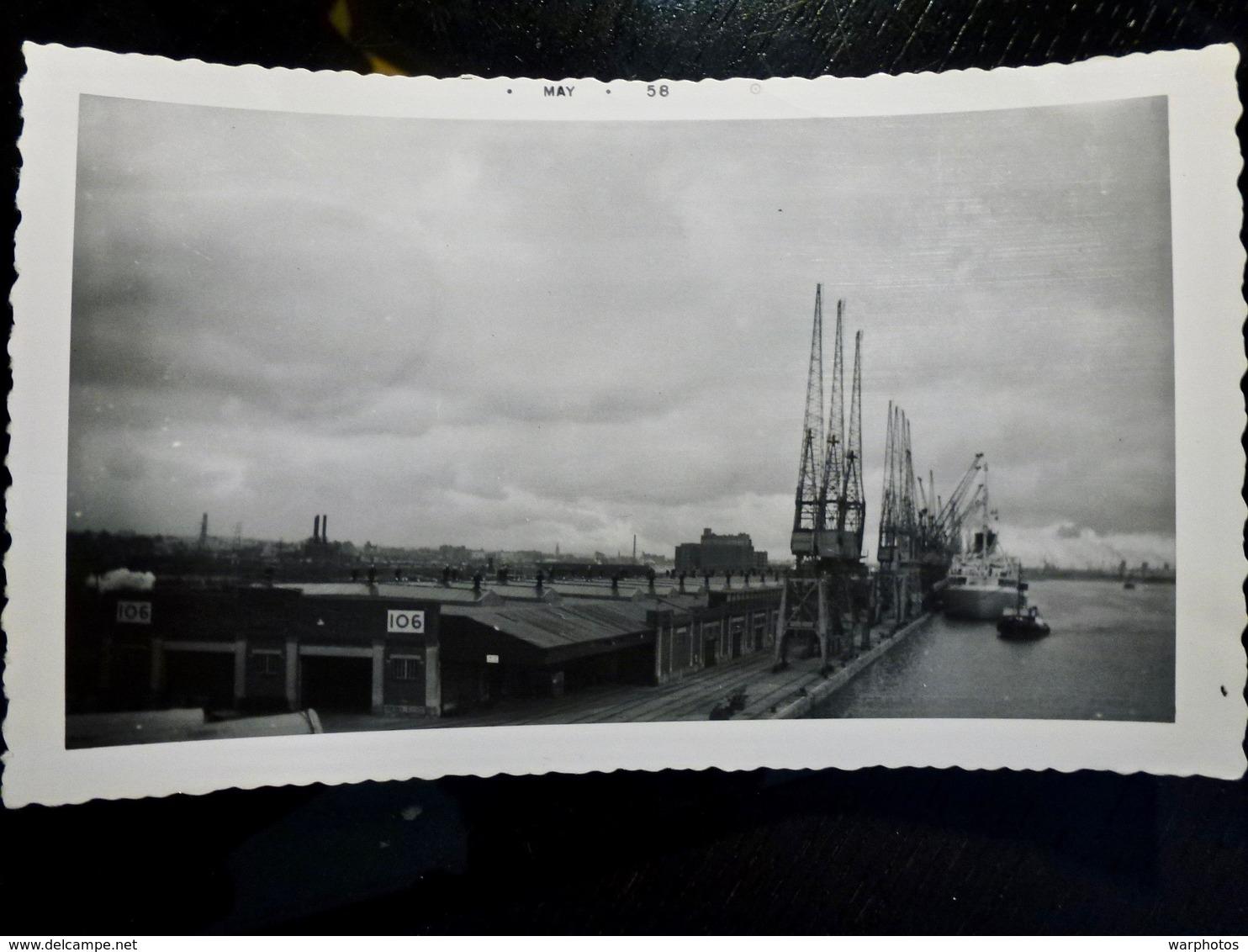 PHOTO ORIGINALE _ VINTAGE SNAPSHOT : DOCKS De SOUTHAMPTON _ ROYAUME UNI _ 1958 - Lieux