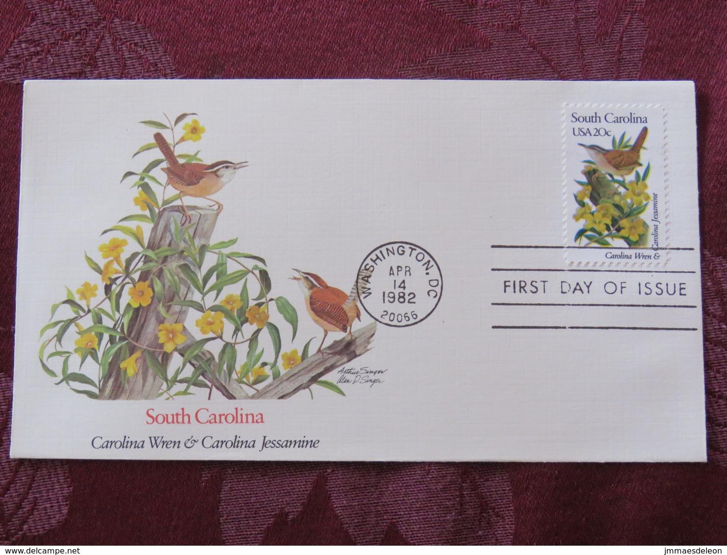 USA 1982 FDC Cover Washington - South Carolina State Bird And Flower - Wren - Jessamine - Etats-Unis
